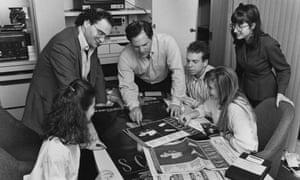 Harvey Weinstein, centre, at Miramax's New York office in 1989