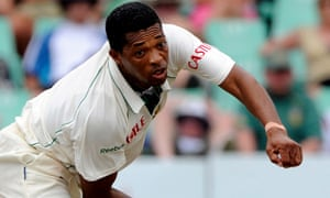 Makhaya Ntini bowling for South Africa.