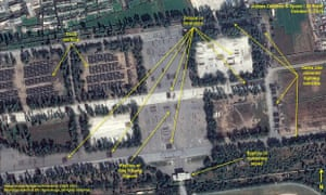 Handout image released by the 38 North website a shows a close-up satellite image of the Mirim Parade Training Facility in Pyongyang ahead of the country's giant military parade. Satellite imagery from North Korea shows it has amassed hundreds of trucks, armoured vehicles, troops and horses for a massive military parade to mark the 70th anniversary of the ruling Workers' Party on October 10, 2015.