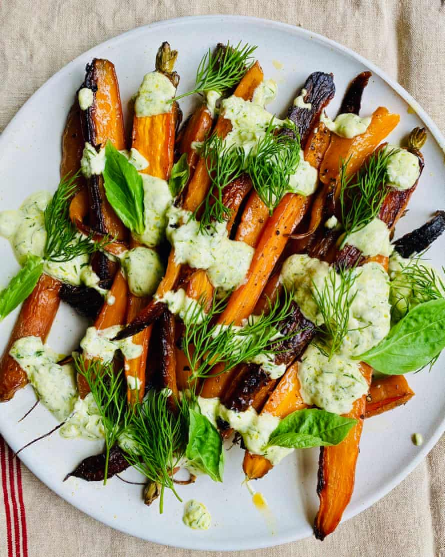 'The mild tartness of the crème fraîche contrasts with the sweetness of the roasted carrots': carrots with basil cream.