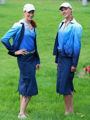Feeling blue: Australia's 2008 opening ceremony outfits, worn here by Sarah Cook and Kim Crow, brought designer Sportscraft under fire.