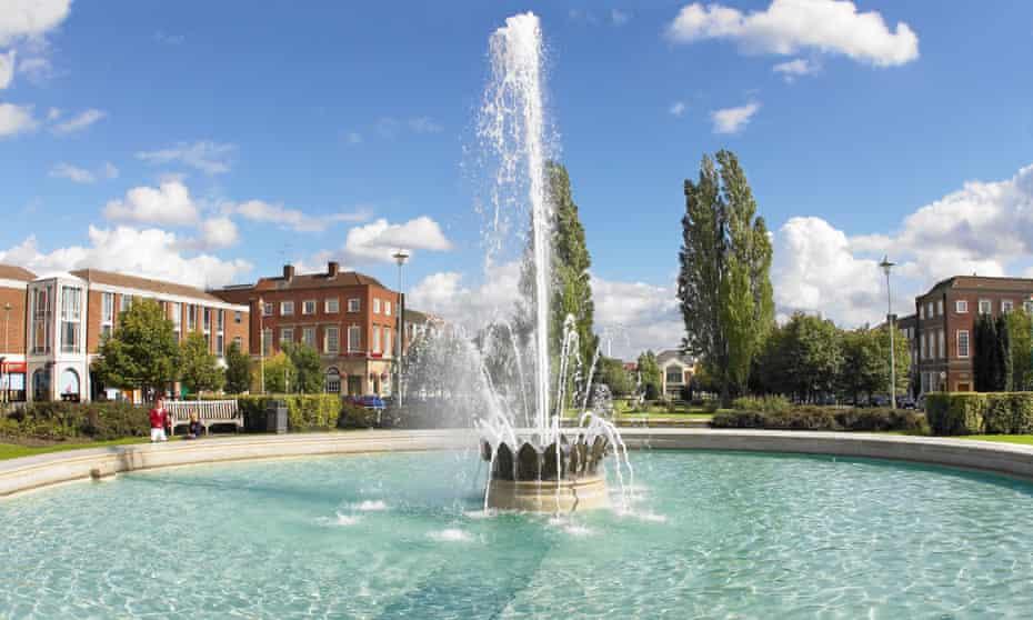 View of a fountain in Welwyn Garden City.