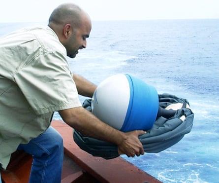 Deployment of a drifter.