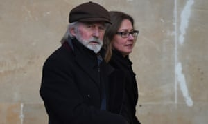 Roy Harper, 73, with an unidentified woman, leaves Worcester Crown Court