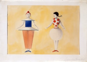 The Triadic Ballet, two figures, yellow sequence II, 1919His masterpiece The Triadic Ballet, first staged in 1922, featured three dancers (two female, one male) performing 12 choreographies across three parts, with 18 costumes. He sought to break out of the classic ballet models of dualism and soloing, instead trying to emphasise a collective