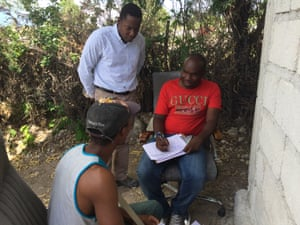 From left: deportee Stecker Alysee, Christian Aid Haiti manager Prospery Raymond, and Jesuit monitor Jogenz Laguerre