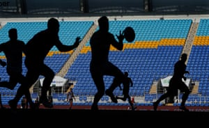 Vacant seats are seen during the round 2 NRL match between New Zealand Warriors and Canberra Raiders at CBUs Super Stadium in the Gold Coast, March 21, 2020.