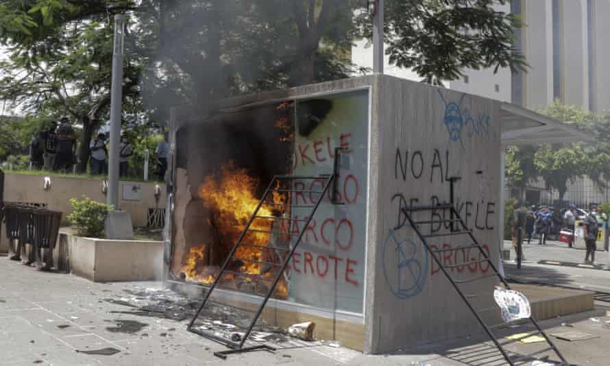A Chivo digital wallet ATM, which exchanges cash for bitcoin, after being torched during a protest against President Nayib Bukele in San Salvador, El Salvador, on 15 September.