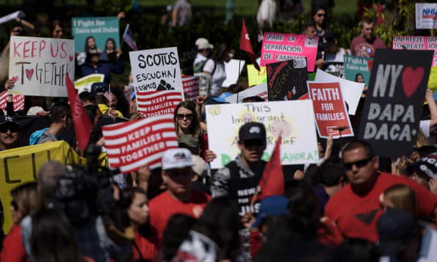 Supporters of immigration reform rally outside the US supreme court during arguments in United States v Texas on Monday.