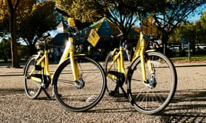 Dockless bikes wait for their riders in Washington DC.