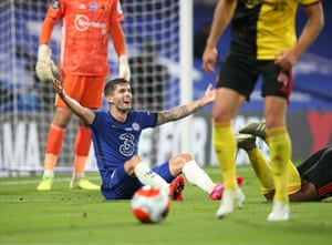 Christian Pulisic of Chelsea appeals for a penalty.