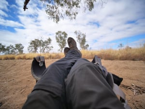 Time for a lie down in a sandy riverbed along the trail