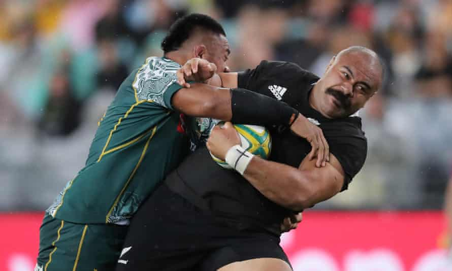 Karl Tu'Inukuafe of the All Blacks is tackled during the 2020 Tri-Nations and Bledisloe Cup match between the Australian Wallabies and the New Zealand All Blacks at ANZ Stadium on October 31, 2020 in Sydney, Australia.
