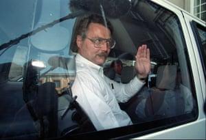 Gary Lauck leaves the Copenhagen supreme court in August 1995.