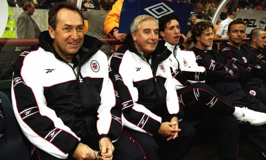 Houllier sits alongside Roy Evans in July 1998 during their short-lived spell as joint managers