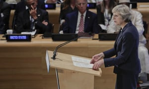 Theresa May speaks at the refugee summit during the 71st session of the United Nations general assembly on 20 September.