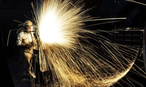 A worker cutting steel in Qingdao in China's eastern Shandong province.