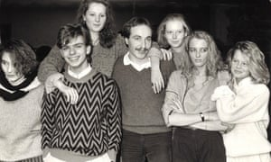 From left: teenagers from Steinmühle school in Marburg, including Barbara Kahlke (third left) and Tina Kirschner (far right) with East German Bernd Bergmann, in January 1985.