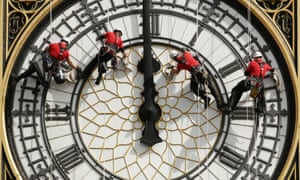 A specialist abseil team cleans and inspects the Great Clock.