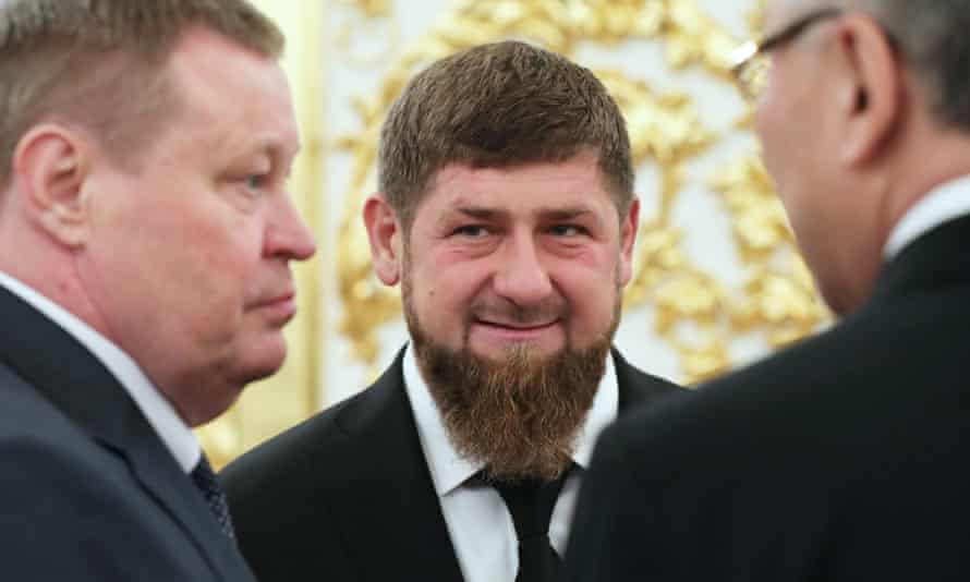 Chechen leader Ramzan Kadyrov (center), whose social media accounts on Instagram and Facebook were recently deleted.