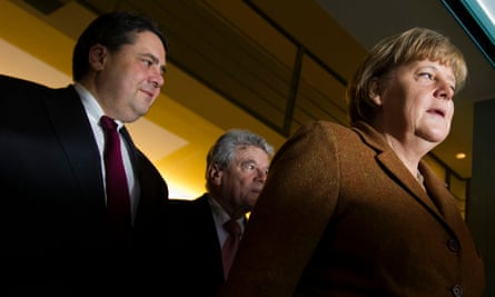 The SPD under Sigmar Gabriel (left) have struggled to gain credit for their own policy initiatives in Angela Merkel's government.