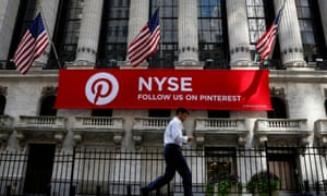 A Pinterest banner hangs on the facade of the New York Stock Exchange