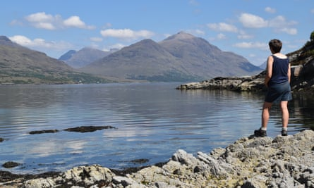 John Main's wife Marian looking inland up Upper Loch Torridon to Liathach in Wester Ross, Scotland.