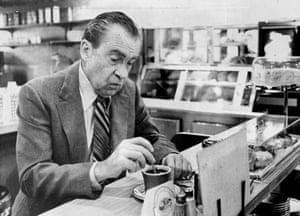 Richard Nixon in a diner on New York's Upper East Side.