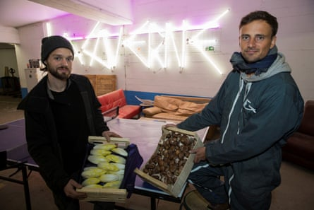 Cycloponics co-founders Jean-Noël Gertz (left) and Theo Champagnat with some of their subterranean produce.