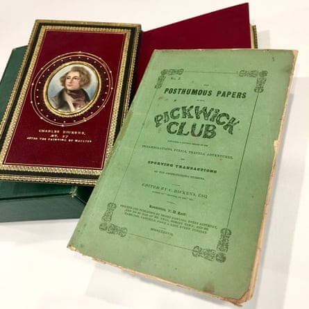 A 'pirated' edition of The Pickwick Papers alongside a a rare 1937 edition, which will be on show at the State Library of NSW.