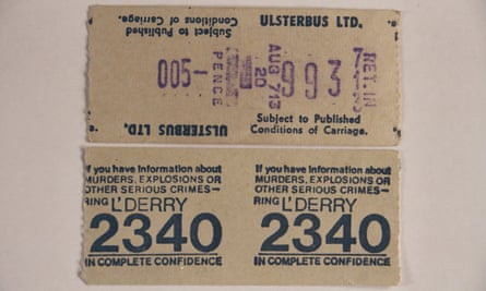 1974 bus ticket bearing the number of a confidential police phone line on which the public could report illegally held weapons.