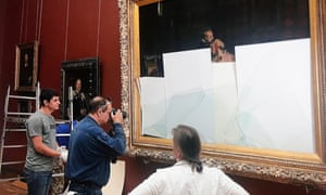 The damaged Ilya Repin painting at the Tretyakov gallery in Moscow