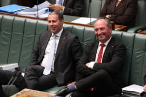 Deputy PM Barnaby Joyce and the environment minister, Josh Frydenberg, during question time