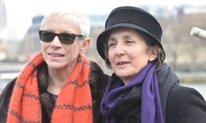 Dr Helen Pankhurst at a charity march with Annie Lennox.