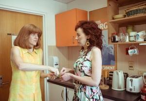 Two women in a tea room