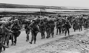 Argentinian soldiers in April 1982 on their way to occupy the captured Royal Marines base in Port Stanley, in the Falklands