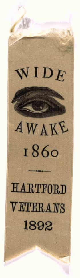 A Wide Awakes ribbon made for veterans of the movement, in 1892.