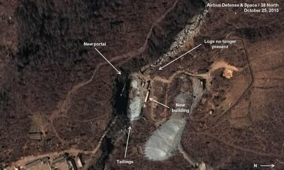 Satellite image dated 25 October 2015 of what appears to be a new tunnel under mountains where North Korea conducts nuclear tests.