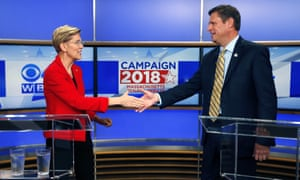 Senator Elizabeth Warren, left, is seeking re-election in Massachusetts where she is opposed by the Republican Geoff Diehl.