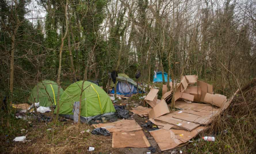 Tents used by refugees near Calais this month.