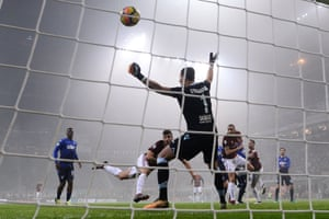 Milan's Patrick Cutrone puts his side a goal up but there was a suggestion he handled the ball.
