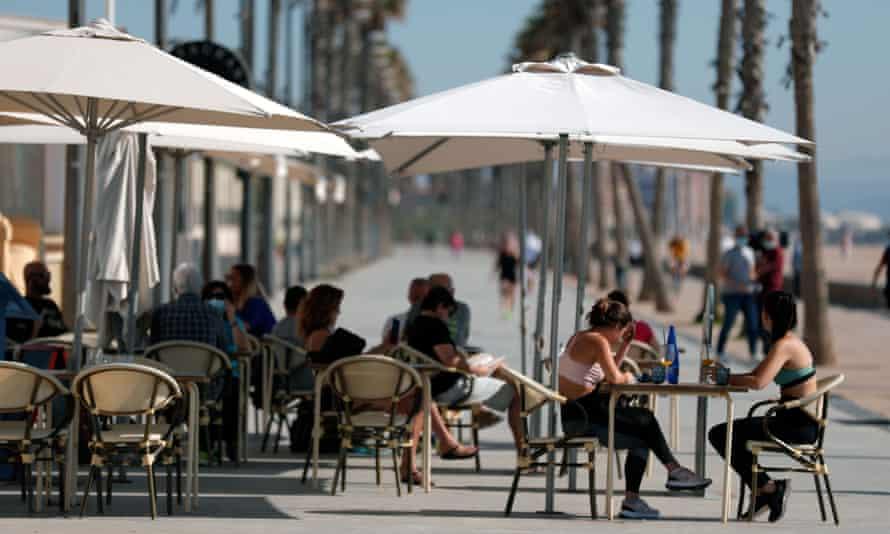 A bar terrace in Valencia, Spain.