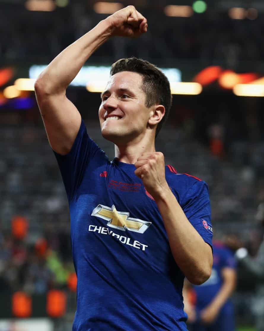 Ander Herrera celebrates after United's victory
