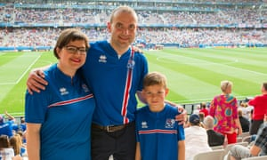 Gudni Johannesson, his wife Eliza Reid, and son Duncan, in Nice for the Iceland vs England match.