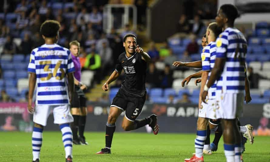 Ben Cabango celebrates scoring for Swansea