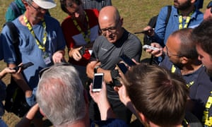 Team Ineos principal Dave Brailsford speaks to journalists on Tuesday's rest day in Castres.