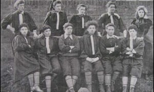 The British Ladies' Football Club, 1895: (standing) Lily Lynn, Nettie Honeyball, Williams, Edwards, Ide (sitting) Compton, F. B. Fenn, Nellie Gilbert, P. Smith, Rosa Thiere, Biggs.