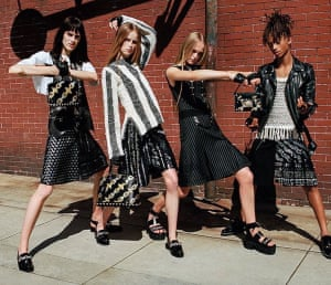 Jaden Smith, right, with Sarah Brannon, Rianne Van Rompaey and Jean Campbell in Louis Vuitton's Spring/Summer 2016 campaign.