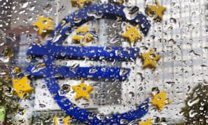 The euro sculpture outside the ECB building in the rain