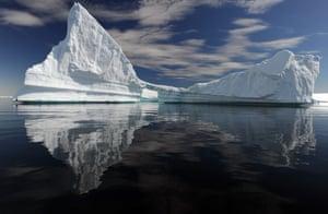 Carved iceberg with an arch, Plenau Bay, Antarctica. February 2012
